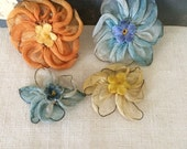 RESERVED for Aila 4 Vibrant Blue Yellow and Marigold Orange Silk Ribbon Work Roses...Rosettes...Applique...Vintage Beauties