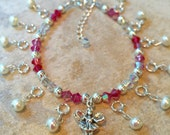 Pink Tri Color Tooth Fairy Bracelet Ensemble. Made To Order