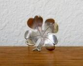 Vintage Sterling Silver Lucky Four-Leaf Clover Brooch
