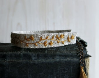 Floral Embroidery Bracelet - Floral Vine Pattern in Mustard Yellow on Natural Linen