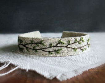 Spring Branch Embroidered Cuff Bracelet - Rustic Woodland Jewelry by Sidereal