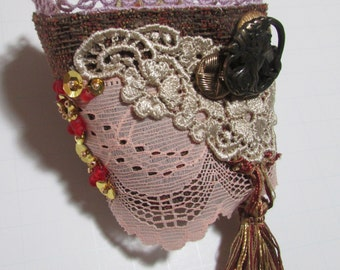 Romantic Lace Wrist Cuff, fabric cuff bracelet, vintage buttons, Beaded, tasseled boho cuff