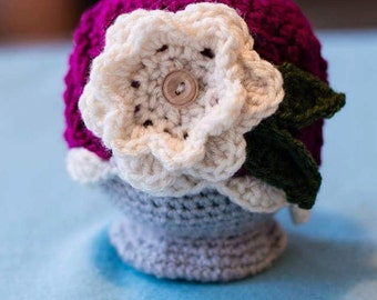 READY TO SHIP - Newborn Crochet Flower Beanie