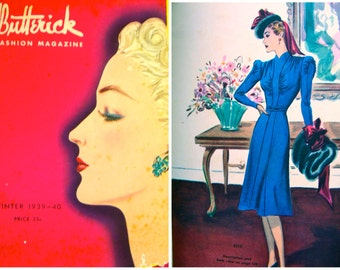 1930s Butterick Fashion Pattern Book Catalog - 128  Pages of Winter 1939-40 Pattern Fashions * RARE