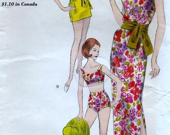 SWIMSUIT PATTERN * Vintage  Vogue  Pattern 5848 -  Ladies'  High Fashion Two Piece Bathing Suit , Tunic and Evening Length Dress * Bust 32