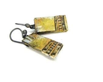 Yellow Ceramic Panel Earrings - Bohemian Artisan Ceramic Earrings No. 108