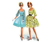 1960s Party Dress Pattern Easy Cocktail Dress U Scoop Neck Full Sleeves Full Skirt Blouson McCalls 7186 Bust 31 Vintage Sewing Pattern
