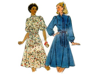 1970s Prairie Dress Pattern Full Sleeves Stand Up Collar Front Button Shirt Dress Simplicity 8335 Bust 34 Vintage Sewing Pattern