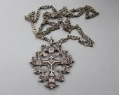 RARE Antique 1800s Coppini Byzantine Cross Necklace with Long Ornate Chain