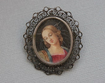 Antique Hand Painted Madonna / Old Master Miniature Framed Painting Brooch or Pendant / 800 Silver Filigree and Glass