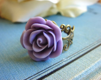 Duchess Rose Ring - A Vintage Style Ring, Light Purple  - Adjustable Ring - Handmade Jewelry by HoneyNest