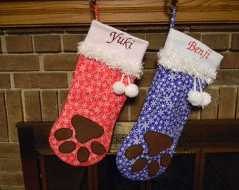 Christmas Stocking - Personalized Christmas Stocking Red, Green or Blue Personalized with Your Dog's Name