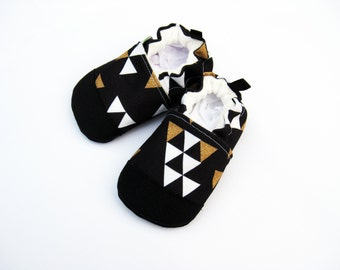 Eco-Canvas Vegan Triangle In Black / non-slip soft sole shoes / made to order / Babies Toddler Preschool