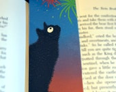 Black Cat Fireworks Laminated Bookmark  - Sammy at the Fireworks Illustration