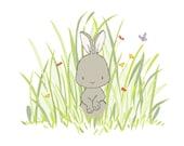 Woodland Nursery Art -- Bunny In The Meadow
