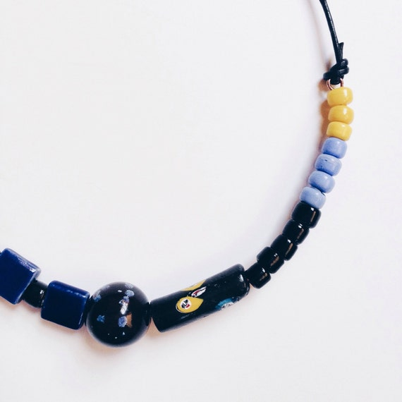 70% OFF Mendota Necklace /// Black, Midnight Blue, and Sunshine Yellow Bead Necklace on Copper Wire and Leather Cord