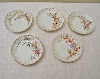Vintage Set of 5 Porcelain Floral Butter Pats