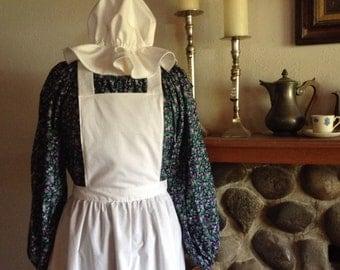Colonial Costume Purple Calico Print Dress Apron and Mob Hat Civil War Pioneer Prairie