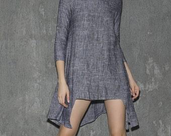 Womens Tunic, Linen Dress, long sleeve tunic, Linen Tunic dress,tunic tops,linen blouse ,minimalist dress,asymmetrical dress, Gift (1315)
