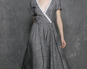Grey dress linen dress maxi dress long prom dress(1319)