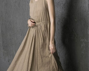 maxi dress summer, Maxi dress women cotton long dress in Brown (1324)