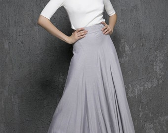 high waisted skirt,grey maxi skirt, Light gray,linen skirt, womens skirts, maxi skirt ,long linen skirt,fall clothing,Custom made skirt 1333