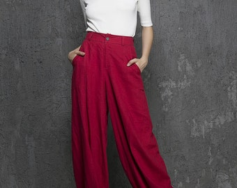 Red linen pants maxi pants women pants (1336)