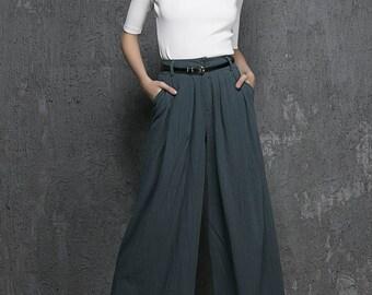 high waisted pants, wide leg pants, palazzo pants, green pant, linen pants, maxi pants, womens pants, handmade pant, fall clothing (1338)