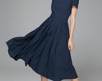 Navy blue dress, linen dress,swing dress, midi dress, square neck dress, Custom made ,Handmade dress, plus size dress, ladies clothing 1398