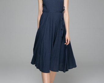Linen dresses, Navy Blue dress, womens dresses, maxi dress, sleeveless dress, A line dress, Fit and flare dress, flare dress, Fall   (1401)