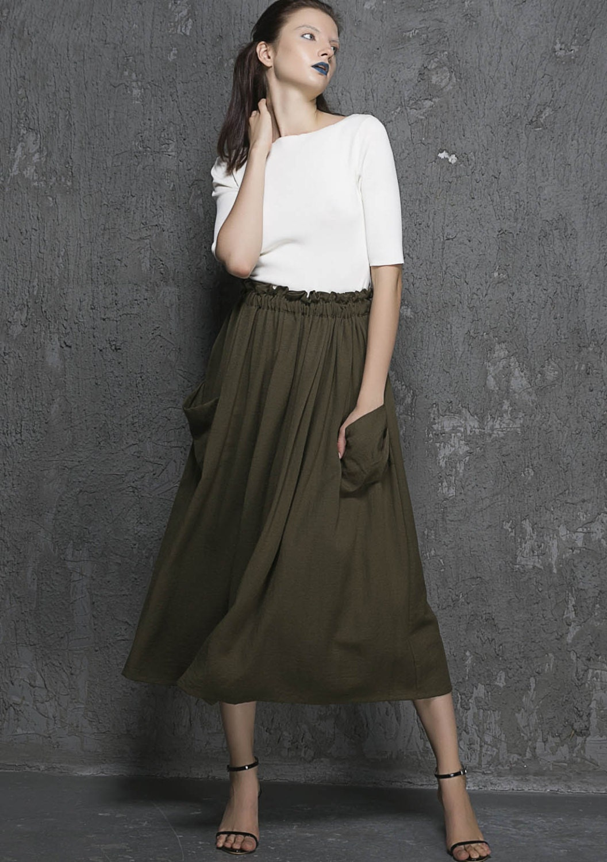 olive green skirt midi skirt womens skirt pleated by xiaolizi