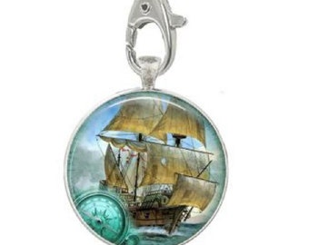 Old World Ship Key Ring, Square or Round Key Holder, Maritime Art Photo, Pirate Ship, Clipper Ship, Sailing Ship, Nautical Art, Key chain