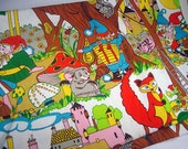 """Woodland Creatures and Gnomes Cotton Fabric, One Yard 19"""", Pillow Fabric, Owl, Fox, Apples"""