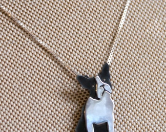 Handmade Sterling Silver Boston Terrier Necklace
