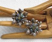 Rhinestone Clip Earring AB Flowers Pewtertone Leaves Vintage 50s Costume Jewelry