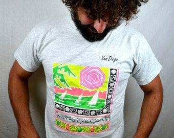 Vintage 80s 90s Rainbow Neon Tee Shirt Tshirt - San Diego