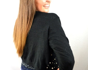 Vintage 80s Lambswool Angora Beaded Pearl Black Cardigan Sweater - Express Tricot