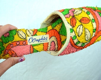 RARE Vintage Rainbow Mod Terry Cloth Slippers by Oomphies