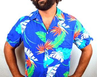 Men's Vintage Hawaiian Shirt - 1980s Kai Nani Sunset Flower Button Up