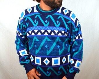 Vintage 80s 90s Blue Geometric Chevron Print Pastel Knit Sweater