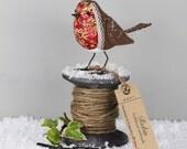 Robin Sculpture - FABRIC BIRD - Made to Order