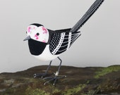 FABRIC BIRD - Pied Wagtail Sculpture - Made to Order