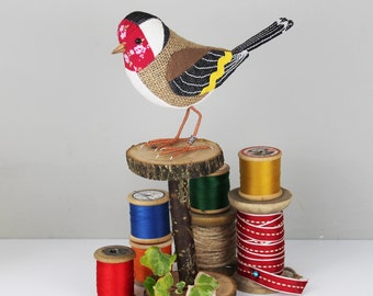 Goldfinch Sculpture - FABRIC BIRD - Made to Order