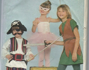 Uncut, Child Size 3 to 6X, Sewing Pattern, Butterick 311, Toddler, Kids Costume, Peter Pan, Captain Hook, Tinkerbell, Princess, Children