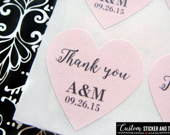 "thank you stickers, heart 1"" personalized with your initials and wedding date, envelope seals, favor stickers, candy buffet labels (S-24)"