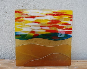 Fused Glass, Mountain, Mountains, Brown, Trivet, Square, Unique, Glass, Stained Glass, Gift, Gift Idea, Frit, Fine Art, Serving, Handmade