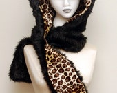 Reversible Black Kitty Cat Animal Hood - With Attached Scarf and Pockets - In Stock