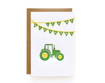 Letterpress Birthday Invitations, Tractor - set of 8