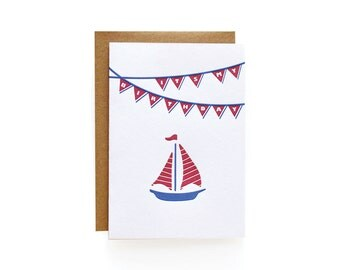 Letterpress Birthday Invitations, Sailboat - set of 8