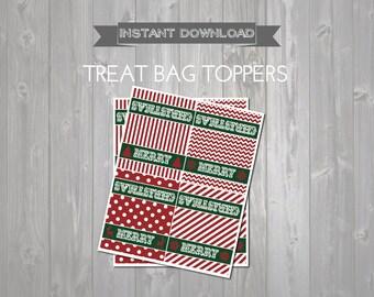 Merry Christmas Treat Bag Toppers - Printable Christmas Favors - Gift Exchange - Printable Holiday Bag Topper - Christmas Party Dessert Tag